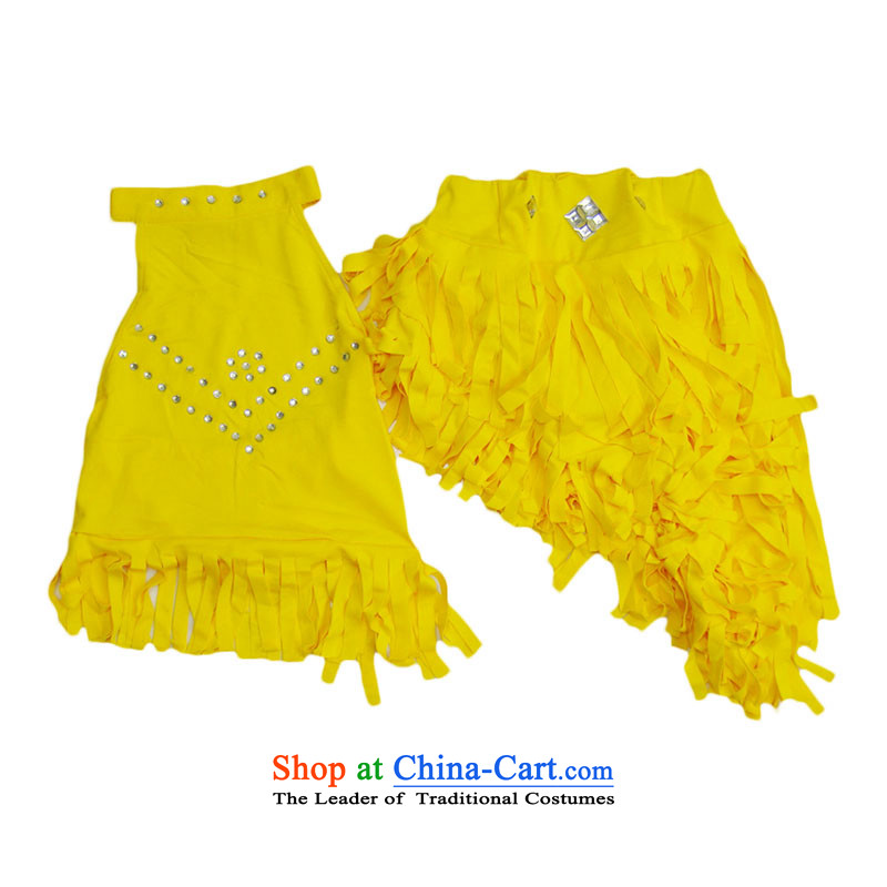 The girl child Latin dance skirt kit su game services stream exercise clothing show services TZ5108-0010 yellow 120CM(XL code)