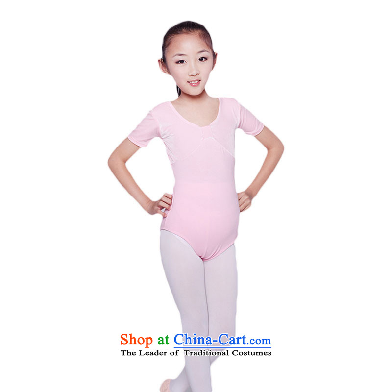 Summer short-sleeved children ballet exercise clothing child care for children's clothing dance gymnastics performances of performance appraisal services TZ5108-0009 pink 140cm