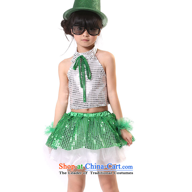 Shao Er Latin Jazz Dance Dance category service performances street lights chip sets cheerleading clothing?TZ5108-0008?green?140cm