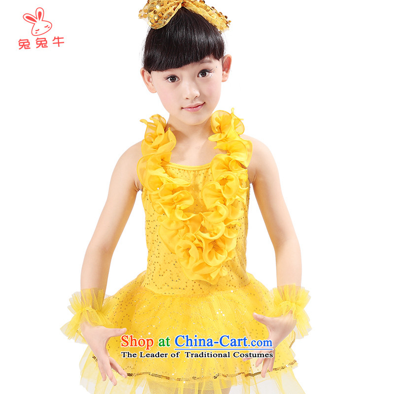 The United States and the new child lace n will girls Latin dance performances services for children with skirt the kindergarten stage costumes Q06 Yellow 130