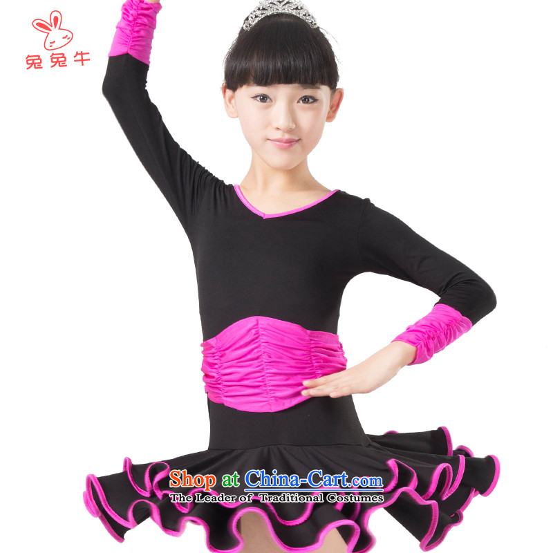 The United States and the 2014 autumn load new cattle, Latin dance wearing training clothes girls black children exercise clothing L10 in red - Short Sleeve150