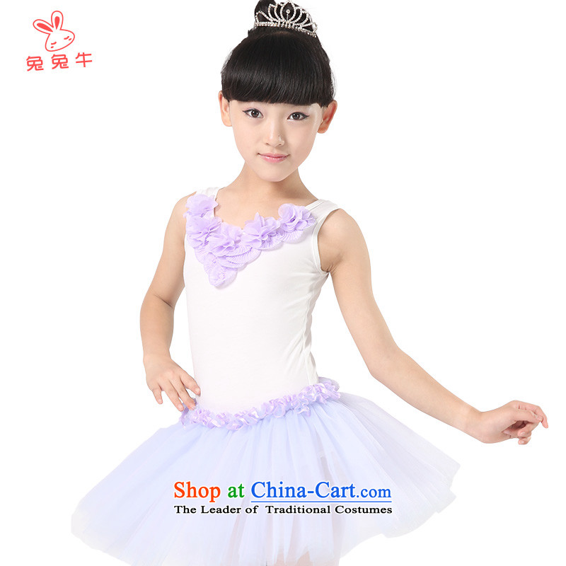 The United States and the 2014 autumn load new cattle, children ballet exercise clothing girls dress Shao Er bon bon skirt G42 Purple 150