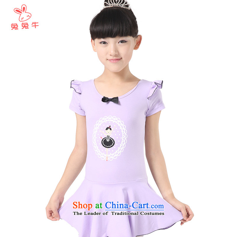 The United States and the 2014 autumn load new cattle, girls serving short-sleeved children dance exercise clothing fly cuff fine dressG41Purple150