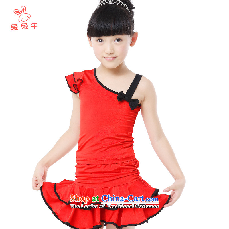 Rabbit and Ngau Chau new types of child-Latin dance wearing girls exercise clothing double fly cuff two kits21 Black and Red Red 150