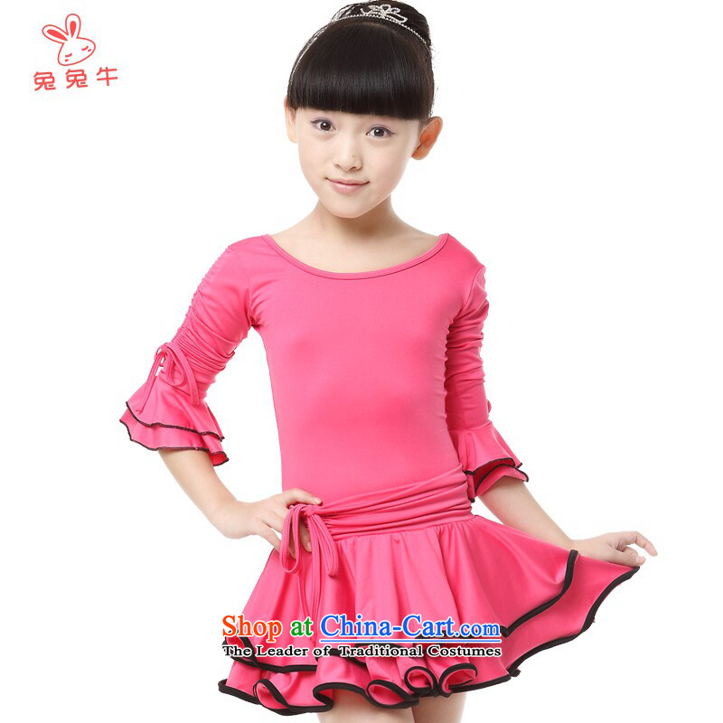 Rabbit and Ngau Chau New) Latin dance wearing girls exercise clothing in long-sleeved horn cuff dance skirt G35 Blue130