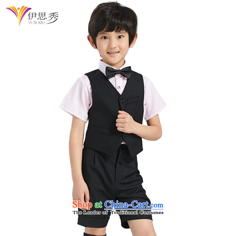 The league-soo boys dress suits for the small children suit vest kit boy Korean Flower Girls dress kit 4 piece festivals will preside over the white vest with pink shirt150