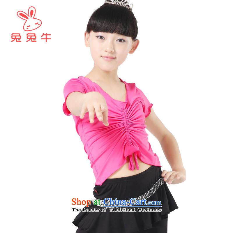 Rabbit and cow girls Latin dance skirt children exercise clothing short-sleeved dress pants Kit2014 new costumes G50 Yellow160