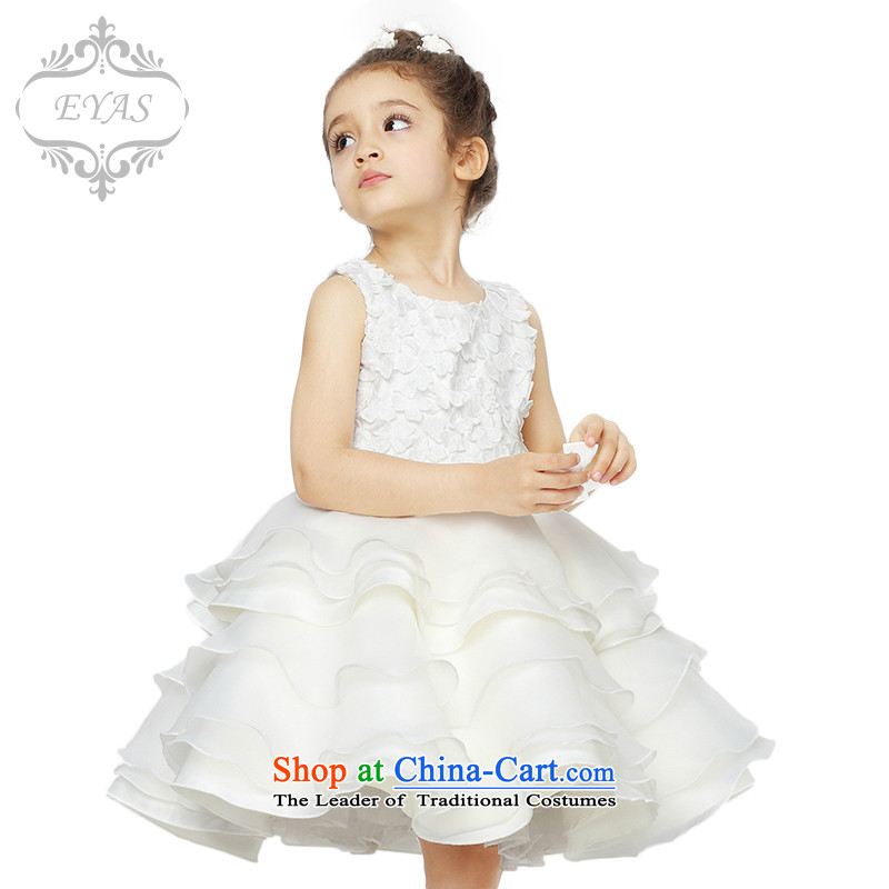 Eyas of spring and summer children's wear girls princess skirt wedding dresses Flower Girls white children dress skirt Snow White bon bon skirt will girls dresses white聽130 _Spot_