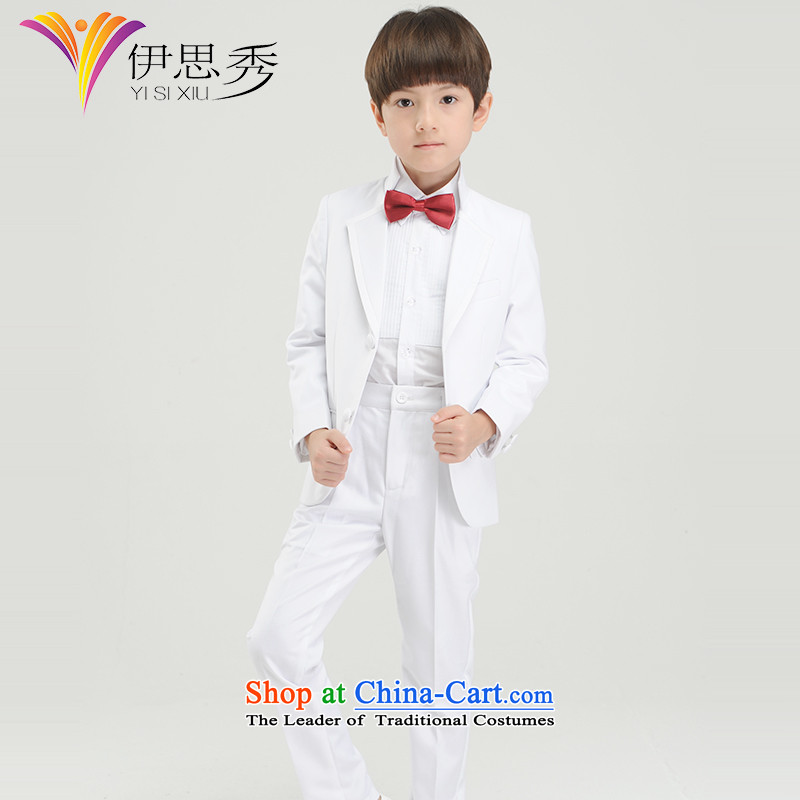 The league-soo children more than boys dress suits Korea edition white suit piano clothing, boys moderator dress Four piece set white x096 Four piece set聽150