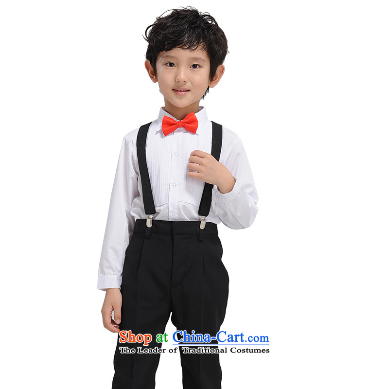 The league-soo children high-end performance services boy Korean Multi Pack Show Services 4 piece suites creases long sleeves shirt black trousers with red聽150