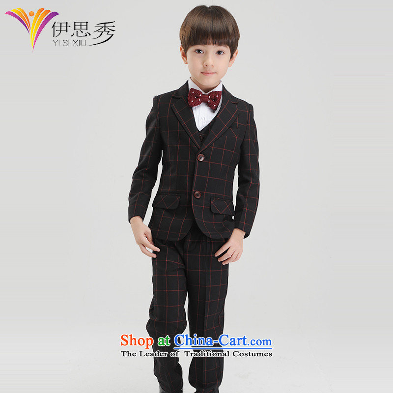The League of Sau 2014 autumn and winter new upscale small business suit children boy Korean latticed suits Flower Girls dress suit male moderator dress red grille kit with 5150