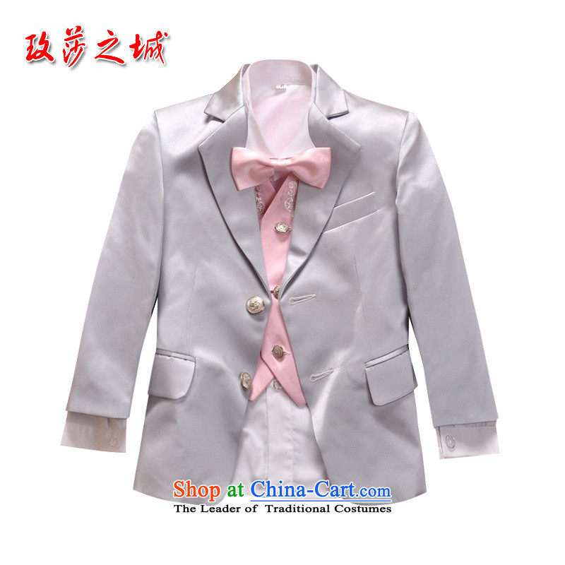 Children Kit Male dress Flower Girls wedding dress elementary school students under the auspices of school performances dress suits silver gray with white and gray vest ground on the Pink Pink vest?150 (Spot)
