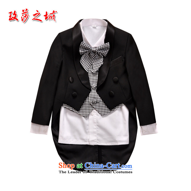 Children piano black frock coat male Flower Girls wedding dress pupils performances dress kit with black and white checkered vest collar tailored black 150