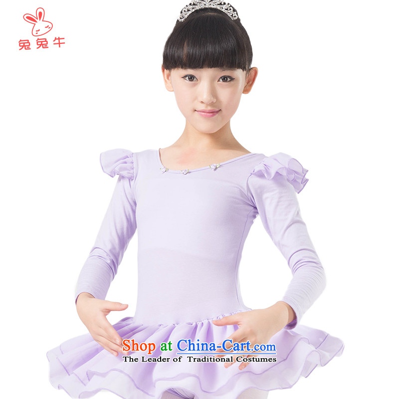 The United States and the 2014 autumn load new cattle, children dance exercise clothing girls ballet skirt chiffon fly cuff G45 Purple - long-sleeved 130