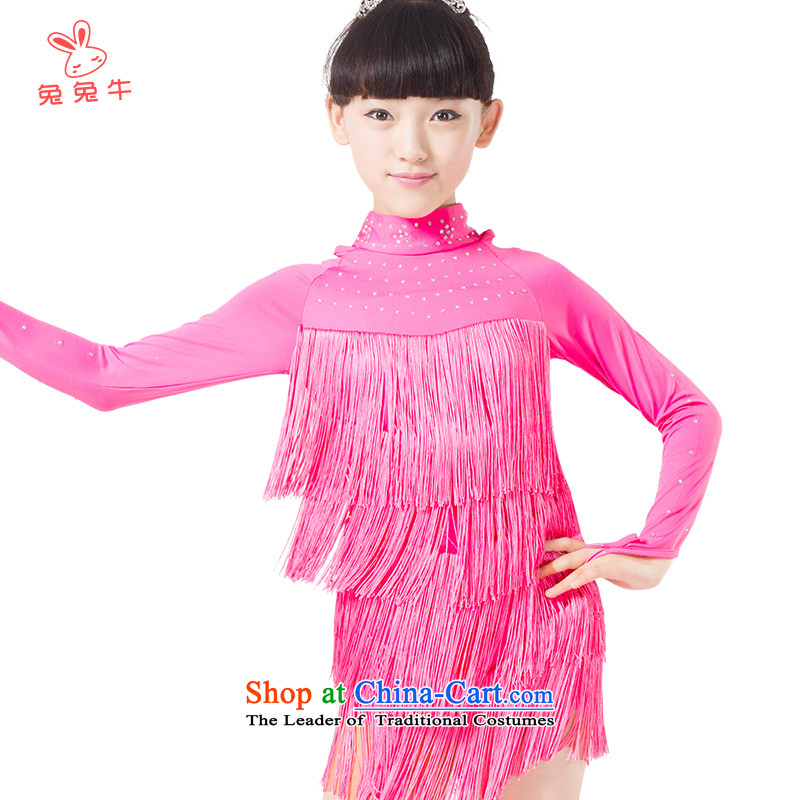 Rabbit and cattle new 2014 girls edging Latin dance performances to serve children Race suits the long-sleeved red) L01 160