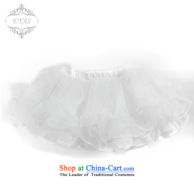 Eyas of spring and summer dress with girls short skirts bon bon skirt children dress soft Skirt holding princess petticoat body skirt wedding dresses skirt dance skirt Flower Girls skirt parties will female white L(140-150)