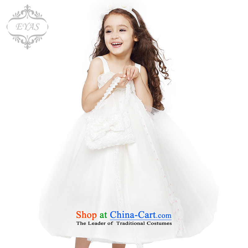 The spring of the new children's wear EYAS girls princess skirt Flower Girls dress children wedding dress bon bon skirt performances of dance skirt female C4213 Services White 140