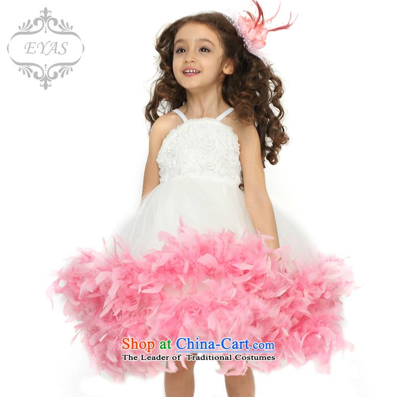 Eyas Spring) Children Dance dresses feather skirt bon bon skirt dress girls princess skirt Flower Girls dress skirt costumes dresses D4210 female white130