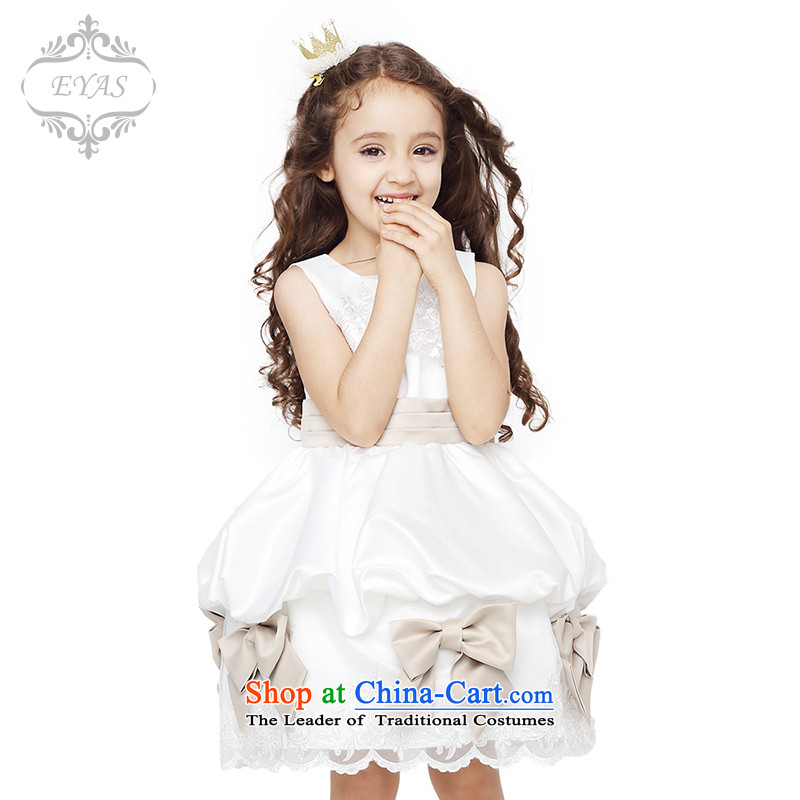 Eyas of spring and summer load children dress skirt princess skirt the girl child to live piano music dress skirt Flower Girls dress skirt bon bon skirt girls dresses D4205 female white?150