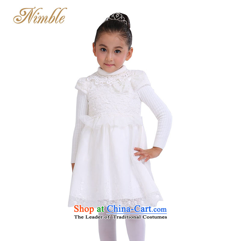 Tien Po 2014 autumn and winter new Korean girls princess dress skirt children wedding flower girls skirt bon bon skirt cake dance performance by performing under the auspices of piano skirt m White 135cm