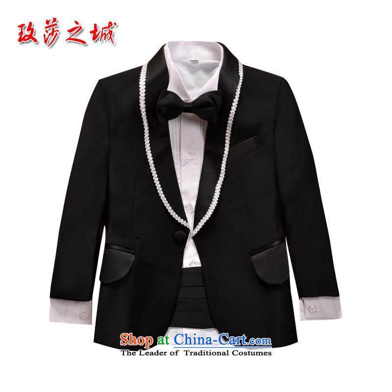 The city of Windsor children dress kit male flower girls under the auspices of students show apparel wedding dress suits for the white with blue vest tailored to accept150 (SPOT) Black