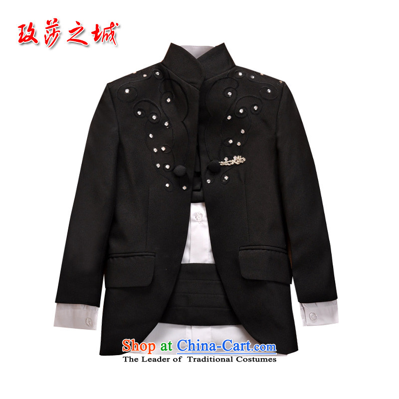 The city of Windsor upscale children 5 Piece Male dress Flower Girls Wedding Dress Chinese collar Xiangyun embroidery parquet water drilling red flower collar girdles custom black聽150_2-3 day shipping_