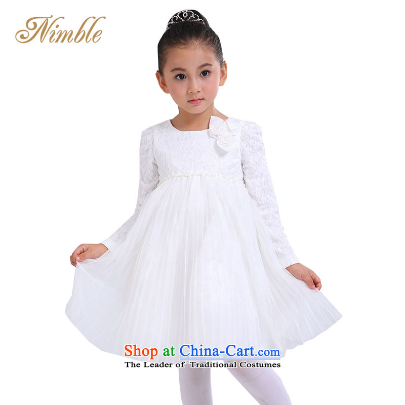 Tien Po children's wear skirts princess girls long-sleeved lace autumn children dress dress princess skirt with long-sleeved princess skirts and wedding dress Flower Girls skirt rice white聽80 cm