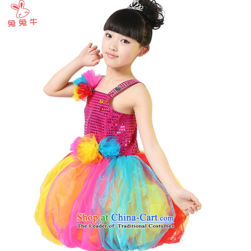 Rabbit and cow costumes girl children children dance wearing girls on chip dress children show apparel will聽be red聽130 Q38