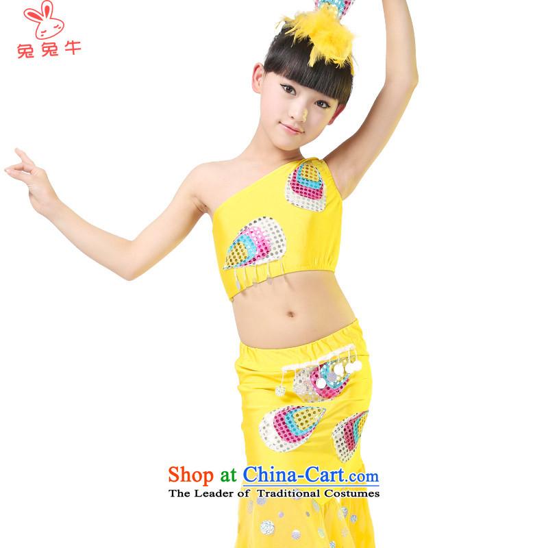 Rabbit and cattle Dai Dai nationality dance dance wearing apparel girl children girls show Children Folk Dance will dress聽F45聽Yellow聽150