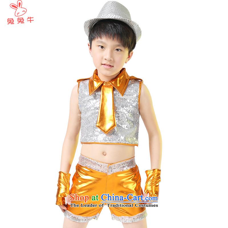 Rabbit and cattle聽2014 children will girls jazz dance clothing jazz dance performances services early childhood boy costumes聽N23聽yellow聽130
