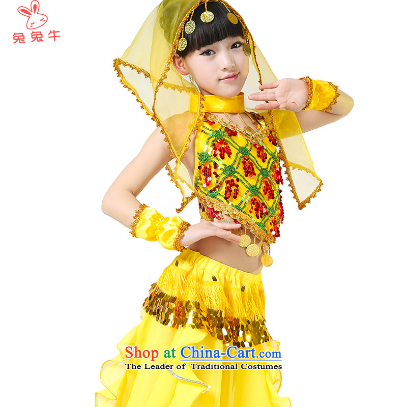 Rabbit and cattle children Indian dance wearing national costumes children folk dance performances to serve Indian dance wearing child maids F41 Yellow 130