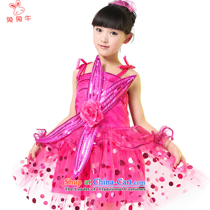 Rabbit and cow costumes girl children children modern dance performances in children's dress uniform girls will be red costumes and Q33 130