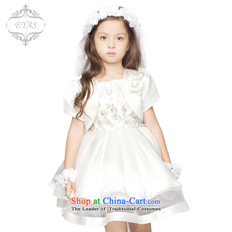 Eyas of spring and summer new child dress princess skirt girls dress autumn replacing Flower Girls wedding dress skirt bon bon skirt children dance performances white dresses skirt 150