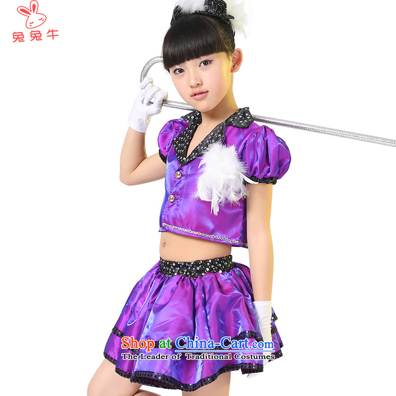 Rabbit and cattle 61 children will dance wearing a small child care銆� I should be grateful if you would have big eyes jazz dance children costumes female聽F27聽Purple聽150
