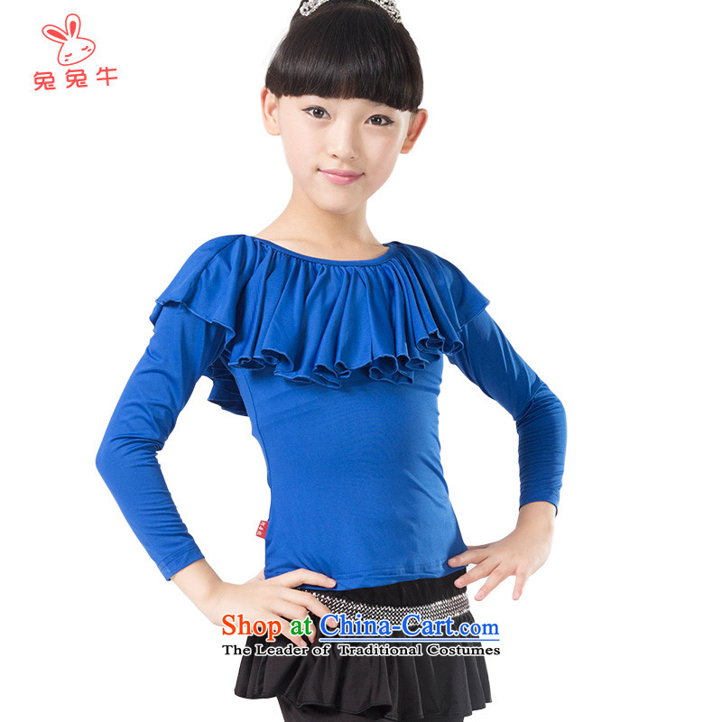 Opening and cattle and the 2014 season with new autumn Latin dance wearing girls exercise clothing sets children fall and winter clothing L12 Blue 150cm Dance