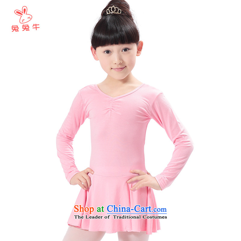 The United States and the 2014 autumn load new cattle, children dance wearing long-sleeved girls practice suits young children ballet G02 short-sleeved light pink thick plus lint-free 150cm