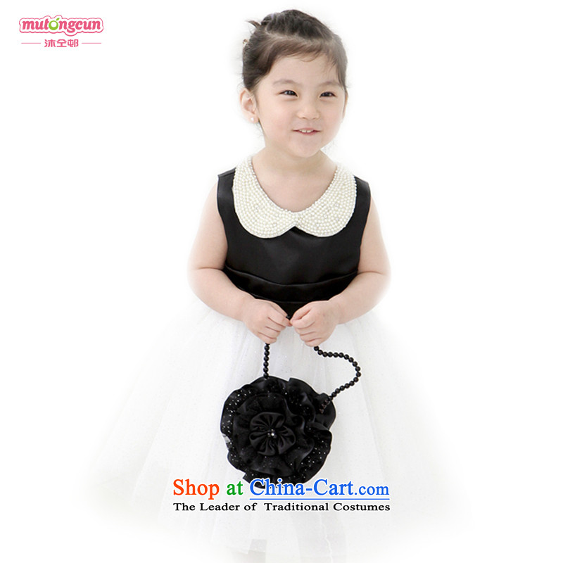 Bathing in the staff of the estate children dress girls princess skirt dance performances to Flower Girls bon bon skirt black 150cm