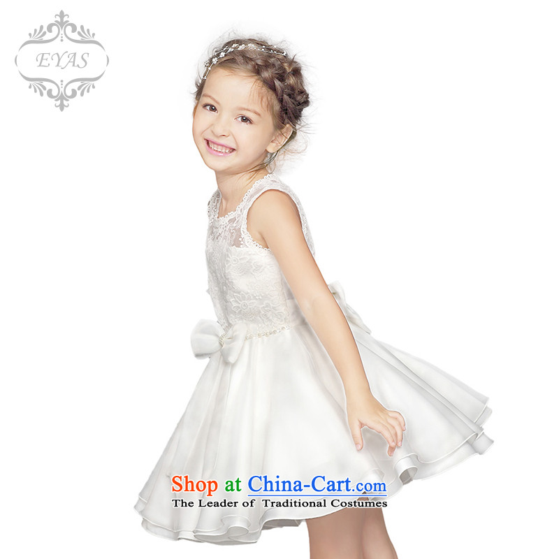 Eyas2015 New Flower Girls dress princess skirt children wedding dresses skirts white snow white apron skirt will bon bon dresses female summer White 130