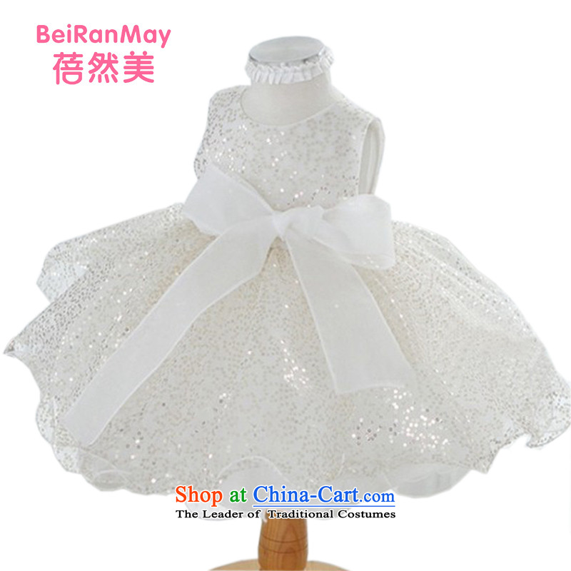 Mrs Ingrid Yeung Mei children so dress Flower Girls children wedding dress Princess Princess bon bon skirt female babies age girls dress up service chip skirt Korean children's wear white 130 yards 110-120CM Height