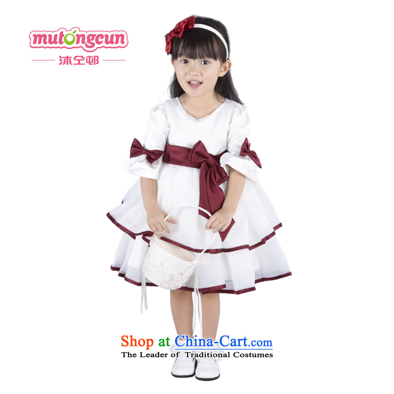 Bathing in the staff of the Estates Flower Girls dress girls princess skirt spring and summer long-sleeved children bon bon skirt kidswear Wedding Dance Festival m White?150cm