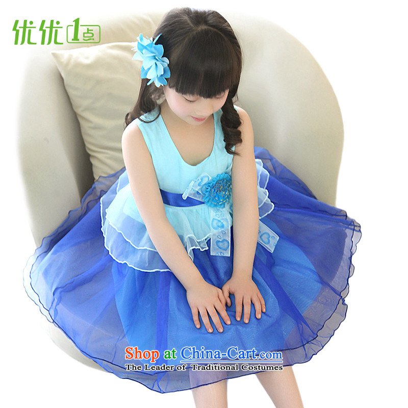 1 point optimization optimize girl children's wear dresses princess skirt for summer 2015 new children clothes girls dress blue skirt聽160 yards _recommendation 140-150cm_ Height