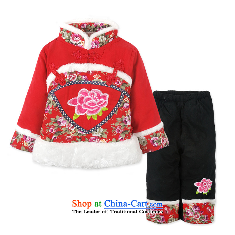 Child Lok Wei?2014 new winter clothing girls embroidered Tang Dynasty New Year ?t��a two kits baby package of children's wear Red?100