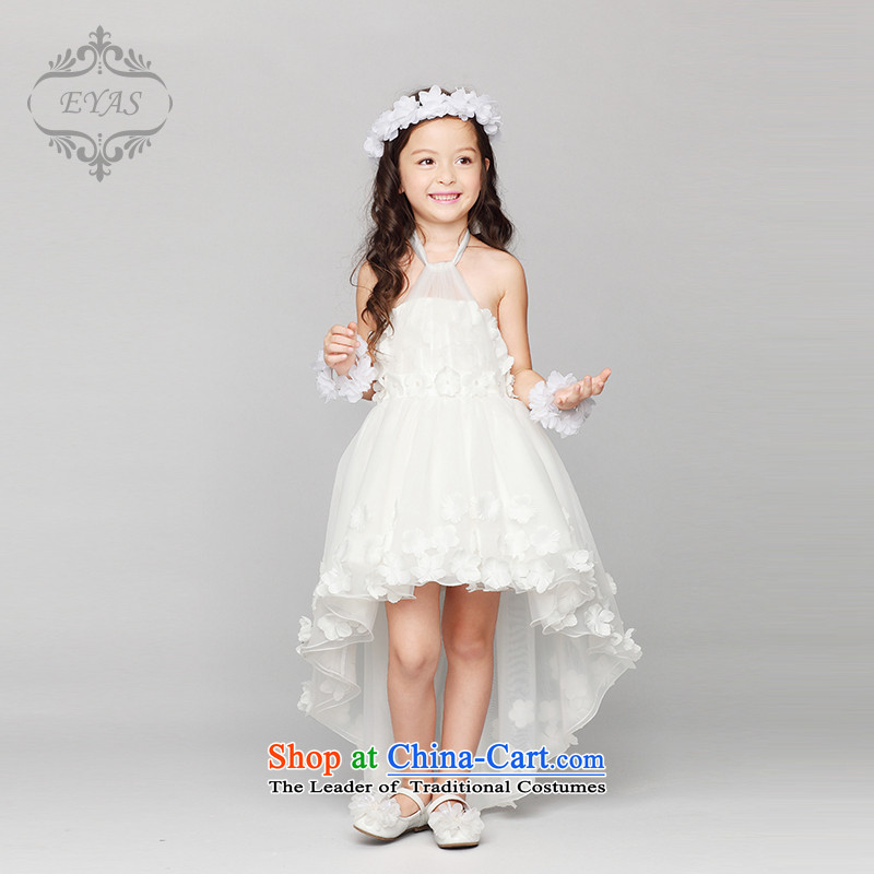 Girls also hang EYAS2015 anointed chest tail Flower Girls wedding dresses bon bon skirt princess dresses children costumes small moderator dress summer White 160