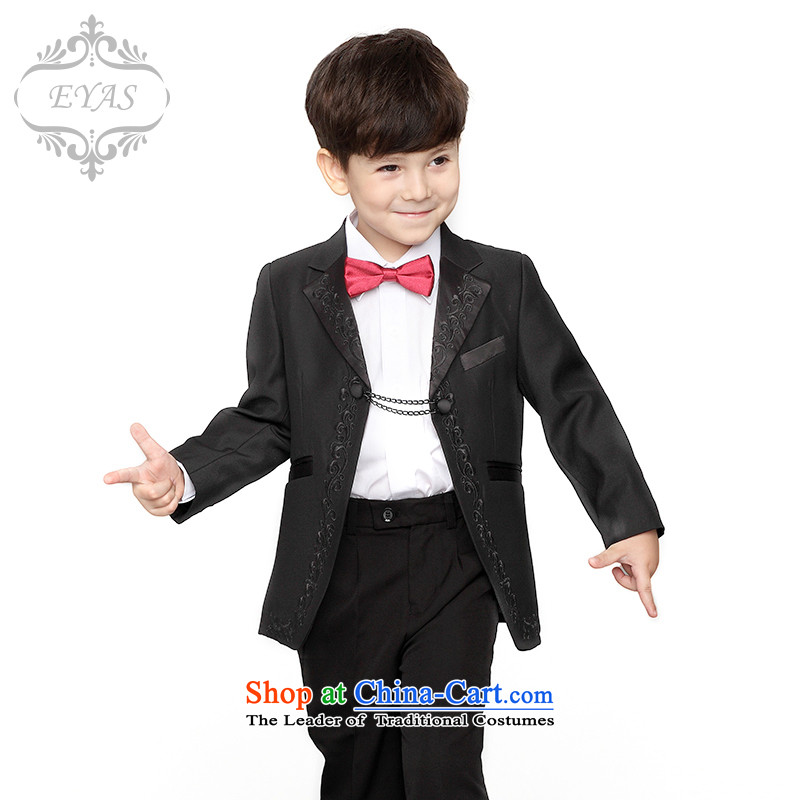Eyas children dress boy Kit Flower Girls dress suit small boy Wedding sets boys dress suit coats boys A1102 small black 140cm