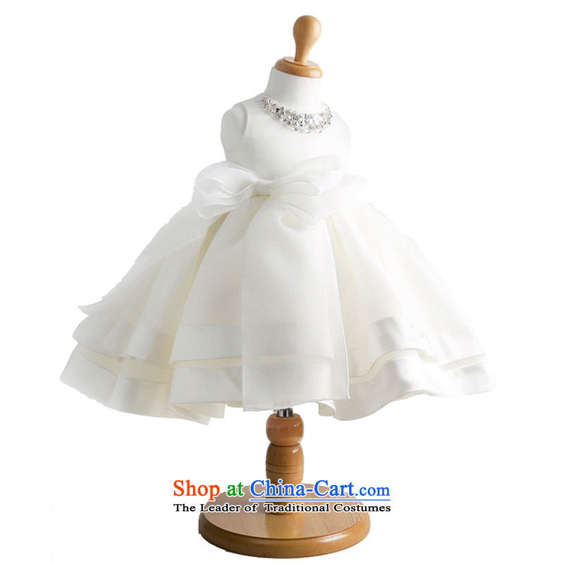 Adjustable leather case package children dress princess skirt Flower Girls dress dress white聽150cm