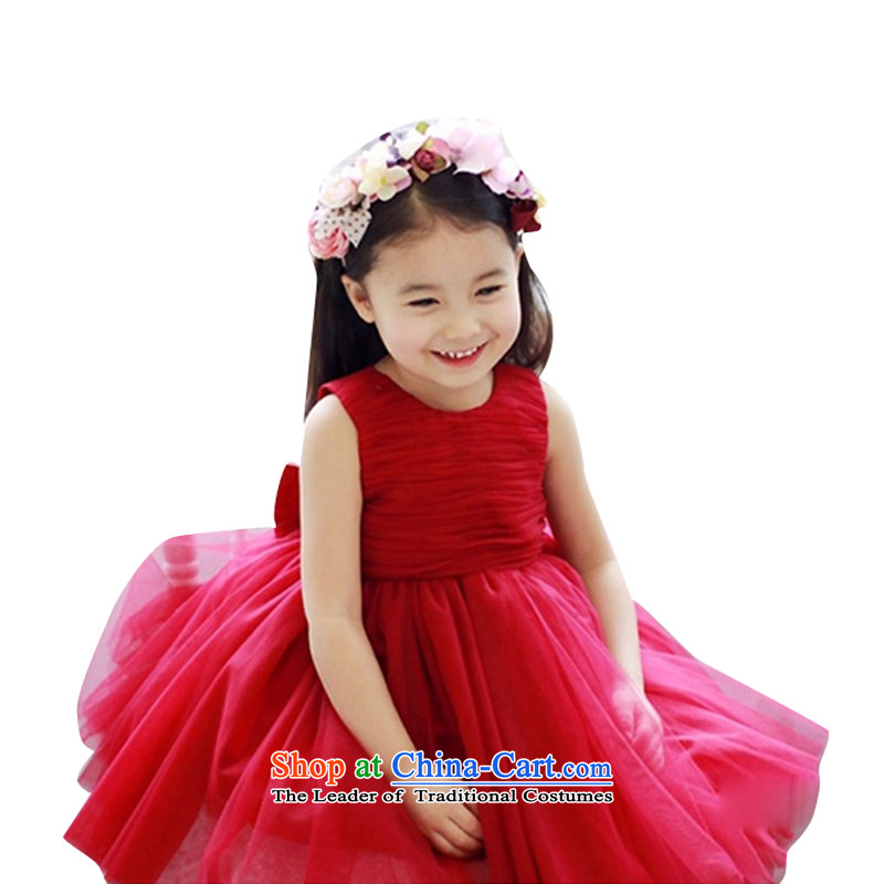 Adjustable leather case package girls dress skirt princess skirt red dress child skirt red聽150cm