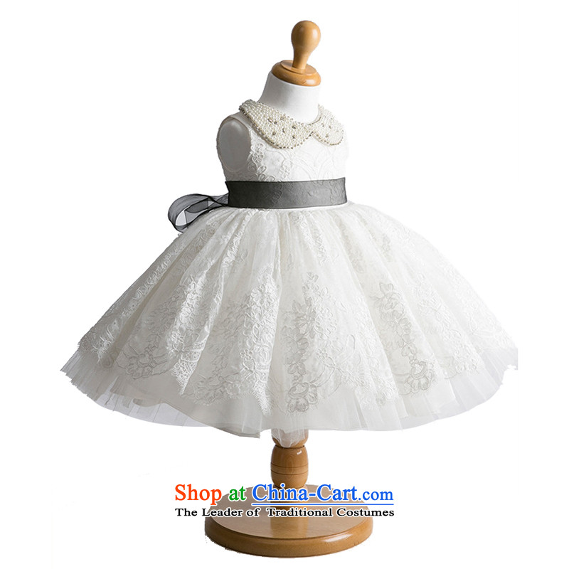 Adjustable leather case package children dress dress Flower Girls dress princess skirt white聽140cm