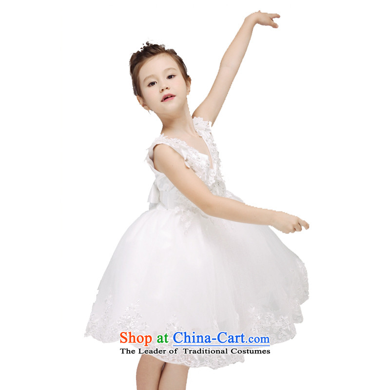 Adjustable leather case package girls will dress skirt winter flower girls dress white聽150cm