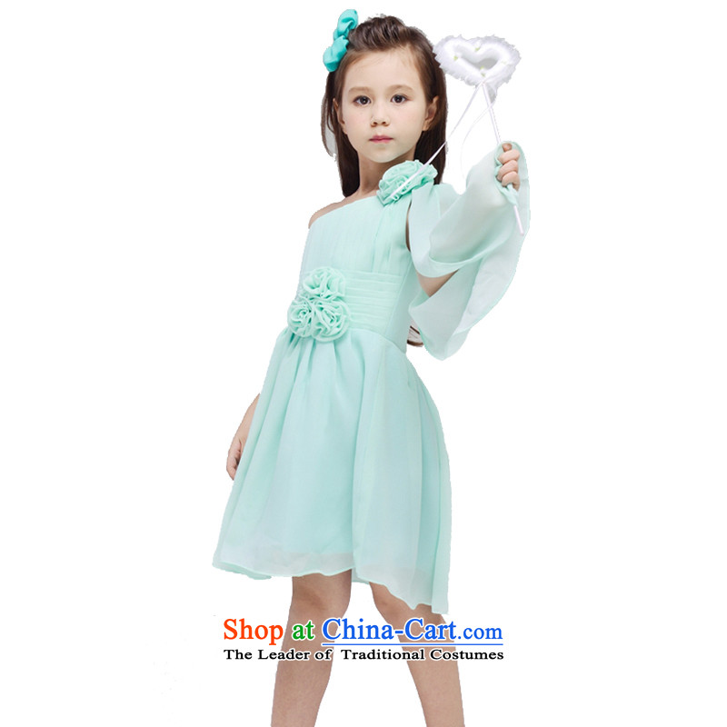 Adjustable leather case package girls dresses autumn replacing children skirts light green聽150cm