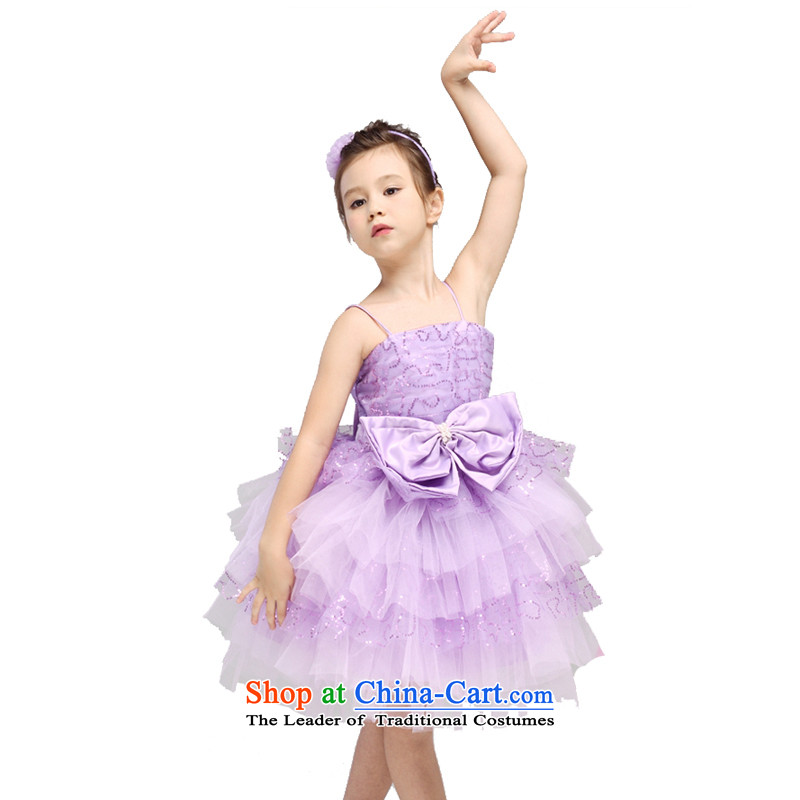 Adjustable leather case package girls dress skirt children wedding dress purple聽150cm